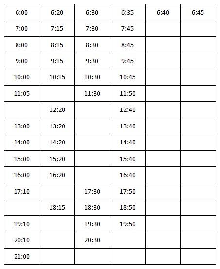 Расписание бесплатного автобуса до «Фуд Сити»