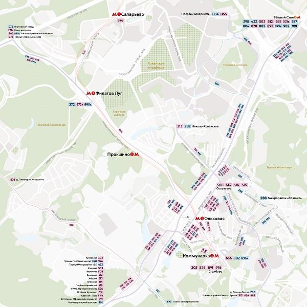 Схема маршрутов в районе новых станций Сокольнической линии метро