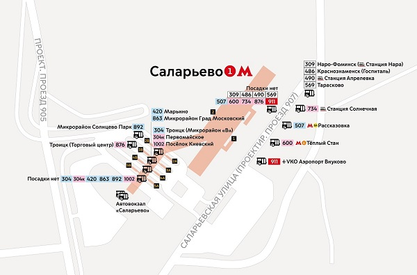 Остановки автобусов у станций метро
