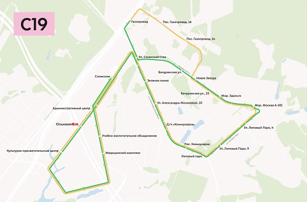 Схема маршрута автобуса с19
